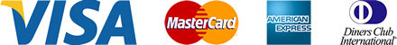 Visa, Master Card, American Express, Diners Club
